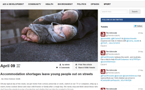 article I wrote on youth homelessness published in the Advocate